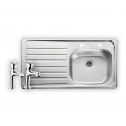 Image for Leisure Lexin 950x508 1.0B LHD Satin Stainless Steel 2TH Kitchen Sink Inc. Waste and Tap - LE95L/PTC