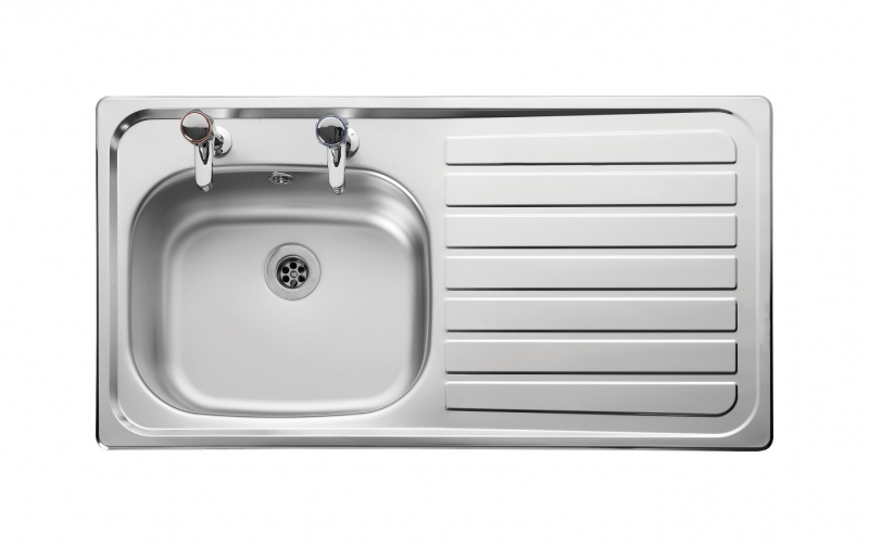 large kitchen sink with drainer leisure lexin le95r 1 0 bowl 2th stainless steel inset 8898