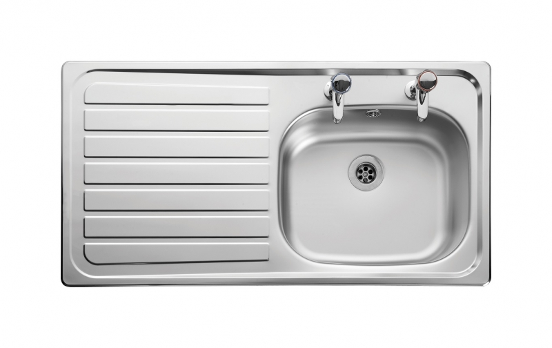 large kitchen sink with drainer leisure lexin ln95l 1 0 bowl 2th stainless steel inset 8898