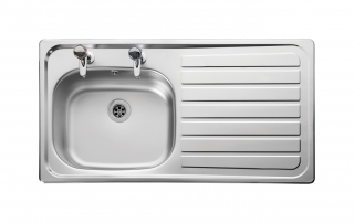Leisure Lexin LN95R 1.0 Bowl 2TH Stainless Steel Inset Kitchen Sink - Right Hand Drainer