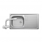 Image for Leisure Linear 950x508 1.0B Satin Stainless Steel Kitchen Sink Inc. Waste and DR1 Tap - LR9501/TDR1