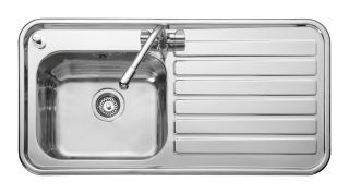 Leisure Luxe LX105R 1.0 Bowl 1TH Stainless Steel Inset Kitchen Sink - Right Hand Drainer
