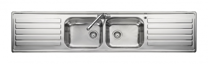 leisure luxe lx84 20 bowl stainless steel inset kitchen sink - Double Drainer Kitchen Sink