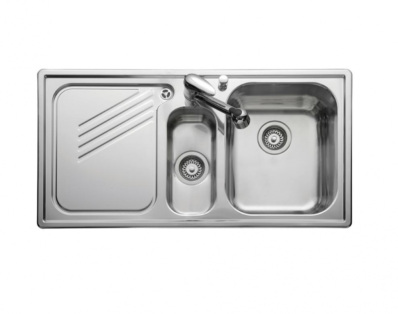 large kitchen sink with drainer leisure proline pl9852l 1 5 bowl 1th stainless steel inset 8898