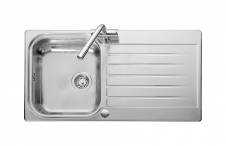 Leisure Seattle SE9501 1.0 Bowl 1TH Stainless Steel Inset Kitchen Sink - Reversible - Linen Finish