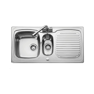 Leisure TS9855LF Thinking 1.5 Bowl 1TH Reversible Stainless Steel Inset Kitchen Sink - Liner Finish