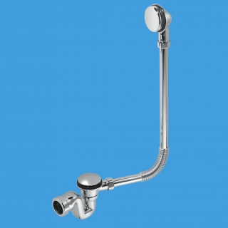 "McAlpine BRASSTRAP-25-CP 1½"" Chrome Bath Trap with Combined Waste & Overflow"