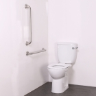 Nymas NymaCARE Close Coupled Ambulant Doc M Toilet Pack With Concealed Fixings Stainless Steel Rail Satin - AMBCCC SS