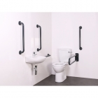 Image for Nymas NymaCARE Close Coupled Doc M Toilet Pack With Concealed Fixings Mild Steel Rail Dark Grey - DM700K/DG