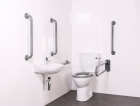 Image for Nymas NymaCARE Close Coupled Doc M Toilet Pack With Concealed Fixings Mild Steel Rail Grey - DM700K/GY