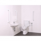 Image for Nymas NymaCARE Close Coupled Doc M Toilet Pack With Concealed Fixings Stainless Steel Rail Polished - DM700KS/SP