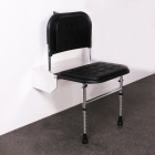 Image for Nymas NymaCare Doc M Shower Seat With Legs 650mm Projection Dark Blue Pads/White Frame - SB-085/DB