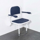 Image for Nymas NymaCARE Premium Wall Mounted Padded Shower Seat With Back, Arms & Legs Electric Blue - SB-081/EB