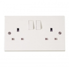 Image for Polar 2 Gang Switched Clean Earth Socket - PRW037