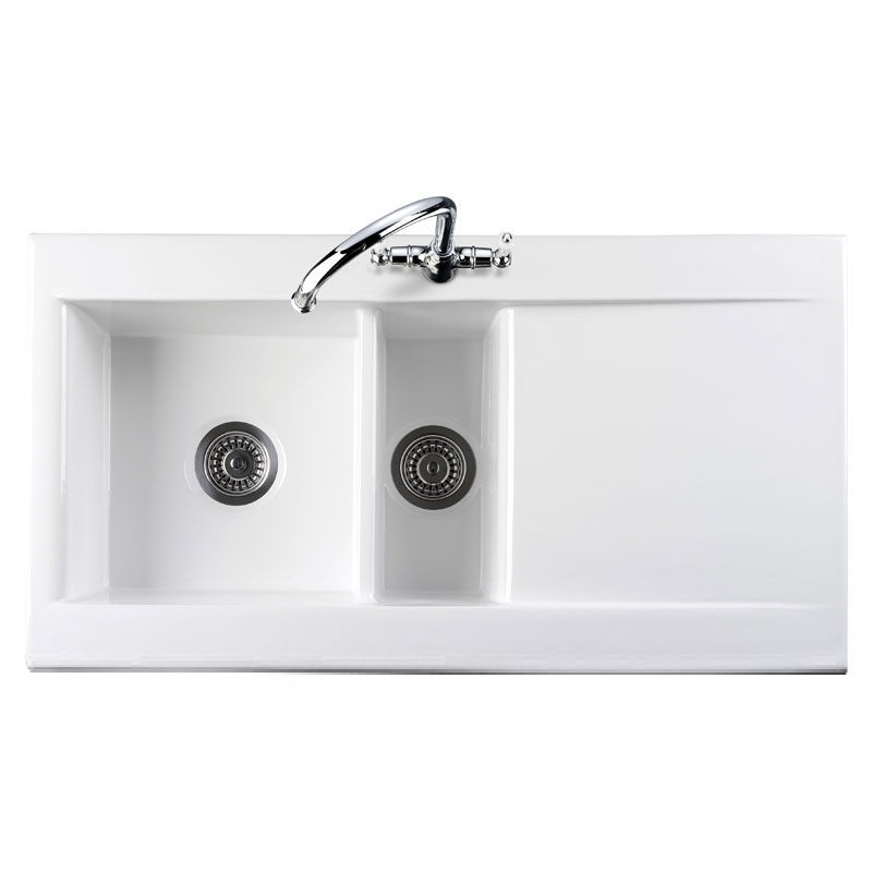 Ceramic Kitchen Sink : Rangemaster Nevada 1.5 Bowl Ceramic Kitchen Sink - White