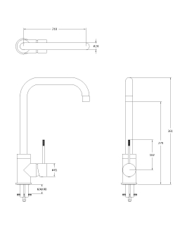 Reginox Angel Chrome Brushed Steel Kitchen Tap Technical Drawing
