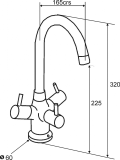 Reginox Brita Chrome Kitchen Tap Technical Drawing