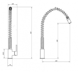 Reginox Camaya Chrome Kitchen Tap Technical Drawing