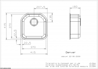 Reginox Denver Technical Drawing