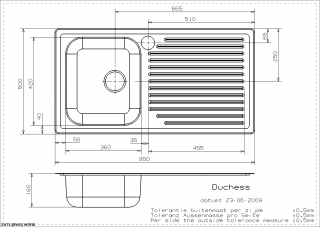 Reginox Comfort Duchess Kitchen Sink Technical Drawing