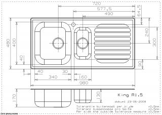 Reginox Comfort King R1.5 Kitchen Sink Technical Drawing