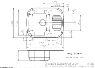Reginox Comfort Regidrain Kitchen Sink Technical Drawing