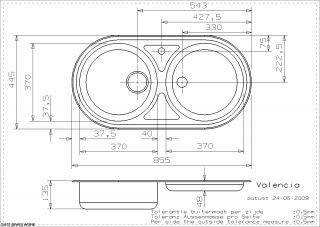 Reginox Comfort Valencia Kitchen Sink Technical Drawing