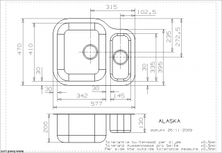 Alaska Double Bowl Kitchen Sink Technical Drawing