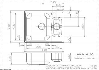 Admiral 60 Kitchen Sink Technical Drawing