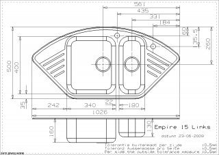 Empire 15 Kitchen Sink Technical Drawing