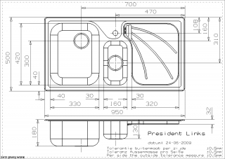 President Kitchen Sink Technical Drawing