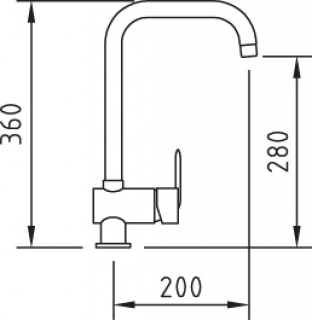 Reginox Magdalena Chrome Kitchen Tap Technical Drawing