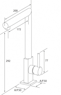 Reginox Niagara Chrome Kitchen Tap Technical Drawing