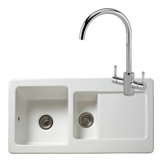 Reginox Regi-Ceramic RL501CW Kitchen Sink With Genesis White Tap