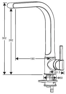 Reginox Venta Chrome Kitchen Tap Technical Drawing