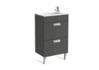 Image for Roca Debba Compact 500mm 2 Drawer Basin Unit With Basin Gloss Anthracite Grey - 855904153