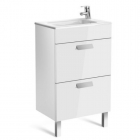 Image for Roca Debba Compact 500mm 2 Drawer Basin Unit With Basin Gloss White - 855904806