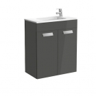 Image for Roca Debba Compact 600mm 2 Drawer Basin Unit With Basin Gloss Anthracite Grey - 855905153
