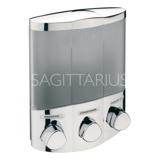 Sagittarius 3 Section Corner Soap Dispenser - Chrome AC/247/C