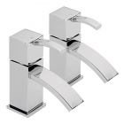 Sagittarius Arke - Bath Tap - Deck Mounted Pillar (Pair) - Chrome - AR/102/C
