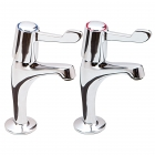 Sagittarius Contract High Neck Lever Pillar Kitchen Taps (Pair) CL/103/C
