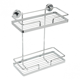 Sagittarius Rectangular Two Tier Wall Basket - Chrome AC/684/C