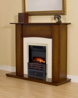 Smith's Antique Oak Fire Surround (Cream Back Plate & Hearth)