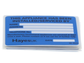 HAYES 663022 INSTALLED/ SERVICE LABELS (PACK OF 10)