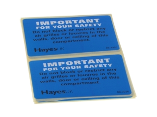 HAYES 663026 IMPORTANT DO NOT BLOCK LABELS (PACK OF 10)