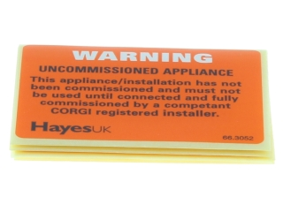 HAYES 663052 UNCOMMISSIONED APPLIANCE LABELS (PACK OF 10)