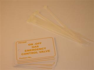 ARCTIC PH104F GAS EMERGENCY VALVE VINYL TAGS PACK OF 10