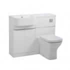 Image for Tavistock Match 1000mm Semi-Countertop & WC Unit Run Left White Gloss - MATLW