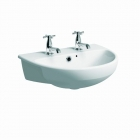 Image for Twyford Energy E100 Round Semi-Recessed 550mm 2 Tap Hole Basin - E14662WH