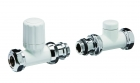 Discount Decor 15mm Manual Straight Radiator Valve Set - White - UDW851